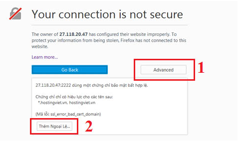 Khắc phục lỗi Your connection is no secure