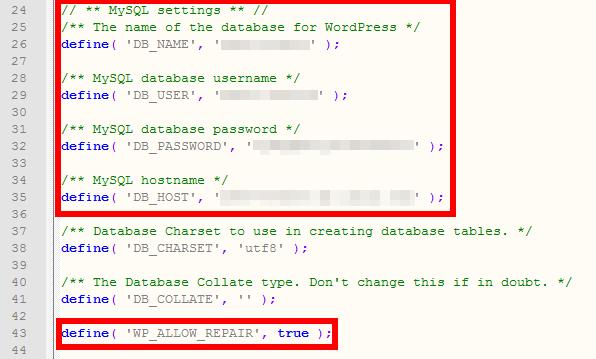 Bằng cách chèn một dòng mã trong tệp wp-config.php, bạn có thể kích hoạt công cụ sửa chữa cơ sở dữ liệu.